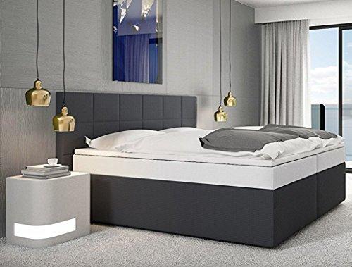 SAM Design Boxspringbett 180x200 cm Stuttgart, Stoff anthrazit, Bonellfederkern, 7-Zonen H3 Taschenfederkern-Matratzen weiß, Viscoschaum-Topper