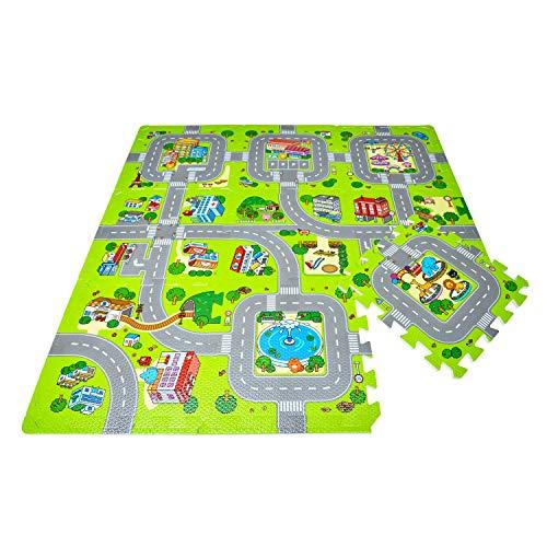 Leo & Emma Hochwertige Puzzlematte Spielstraße Kinder-Spielteppich Spielmatte mit Straßenzug Als Krabbelmatte zum Toben, mit tollem Straßenmuster als Spieldecke Neu Modell 2019