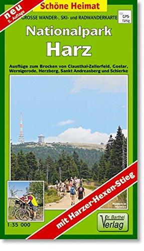 Große Wanderkarte-, Ski- und Radwanderkarte Nationalpark Harz: Ausflüge zum Brocken von Clausthal-Zellerfeld, Goslar, Wernigerode, Herzberg, Sankt Andreasberg und Schierke. 1:35000 (Schöne Heimat)
