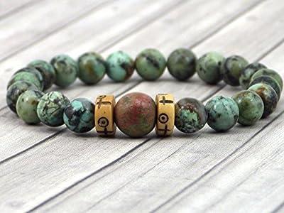 Bracelet pour femme Africa Dream en turquoise naturelle, Unakite naturelle et os gravés