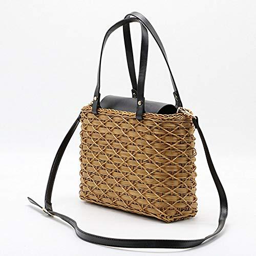 ZYXB Handgemachte Rattan Womens Handtasche Wicker weibliche Schulter Crossbody Bag Böhmen Stroh Strand Taschen Messenger Bag Tote Korb,Black -