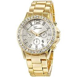 XLORDX Geneva Designer Datum Strass Damenuhr Gold Uhr Chronograph Optik Strassuhr Weiß