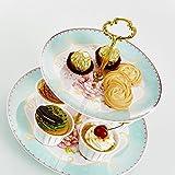 Panbado Porzellan 2-stöckig Etagere, Muffin Cupcake Obst Ständer für Kaffeeservice / Teeservice