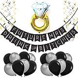 Sterling James Co. Future Mrs Schwarze Silber Verlobung Hochzeit Deko Set – Junggesellinnenabschied Geschenk, Zubehör, Accessoires