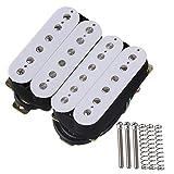 yibuy weiß Dual Rail Humbucker Hals Tonabnehmer für E-Gitarre Ersatzteile Set von 2