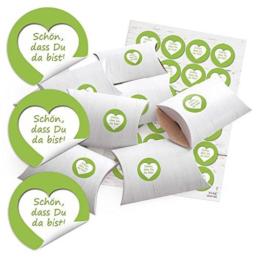 hachteln Geschenk-Boxen Kartons Holz Optik weiß 14,5 x 10,5 cm + 3 cm hoch + Aufkleber mai-grün SCHÖN, DASS DU DA BIST Herz weiß Ø 4 cm zum selber basteln und befüllen ()