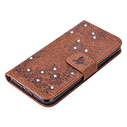 """MOONCASE iPhone 7 Plus Hülle, Premium Leder Schutzhülle [Blumen Schmetterling Serie] PU Leder Flip Handyhülle Tasche Case für iPhone 7 Plus 5.5"""" Saphir Braun"""