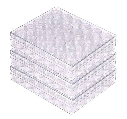 3x Aufbewahrungsboxen mit Deckel Set mit je 30 Mini Plastik Behälter für Perlen, Schmuck, Piercing, Kleinteile, Schrauben, Nähzubehör, Glitter, Nagelkunst, DIY, Make-up/Schminke, Glitzer, Hobby