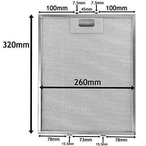 Spares2go Metall-Netzfilter für Homeking FW60.2SS Dunstabzugshaube/Abluftventilator (320 x 260 mm)
