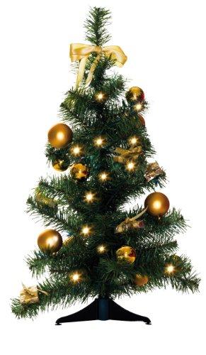 Star Sapin de Noël Lumineux 20 LED Fonctionnement à Piles LED Blanc Chaud Ivoire/doré 60 x 40 cm
