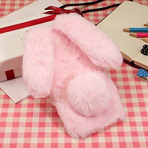 KeKeYM Sony XA1 Case Kaninchen, Netter Hülle für Xperia Z6, Plüsch Bunny Ears Hülle Handgemachtes Spielzeug Furry Kaninchen Häschen Weiche Hülle Dünne für Sony Xperia XA1 - Rosa