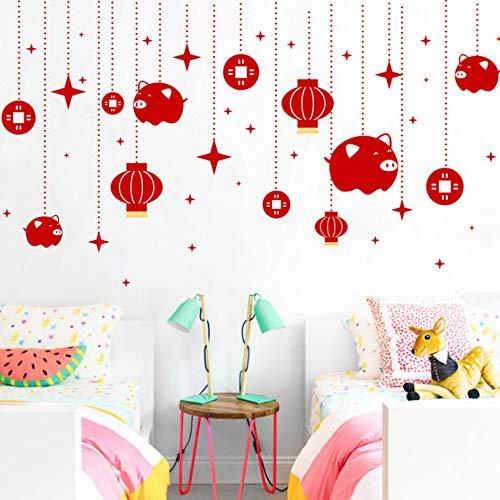 Yzybzglücklich Chinesisches Neujahr Schwein Laterne Wandaufkleber Wohnkultur Wohnzimmer Frühlingsfest Wandtattoos Pvc Mural Diy Diy Poster