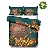 Chickwin 3D Bettwäsche Set, 3 Teilig Mikrofaser Doppelbett Bequem Weich und Haltbar Atmungsaktive Hypoallergen Bettbezug -Set,1 Bettbezug, 2 Kissenbezüge - Traum-Basketball...