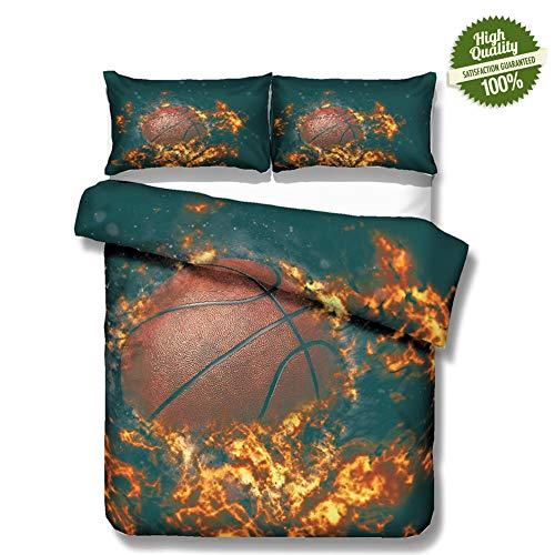 Chickwin 3D Bettwäsche Set, 3 Teilig Mikrofaser Doppelbett Bequem Weich und Haltbar Atmungsaktive Hypoallergen Bettbezug -Set,1 Bettbezug, 2 Kissenbezüge - Traum-Basketball (240*220cm,Dunkles Feuer) -