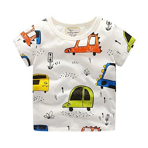 JERFER Neugeborenes Baby Jungen T-Shirt Sommer Schön Karikatur Auto Kurze Shirt 1.5-6 Jahre (Weiß, 6T)