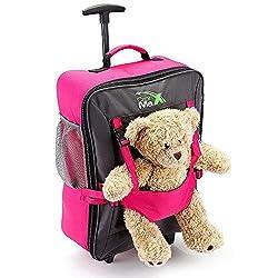 Cabin Max Handgepäck Kinder Fall Trolley mit Rucksack Riemen - nehmen Sie Ihre Lieblingsbär/Puppe/Action Figur auf Urlaub- Rose