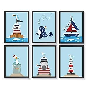 Bilder maritim Kinderzimmer | 6 Kunstdrucke | A4 Kinderbilder | Poster Set | ohne Bilderrahmen