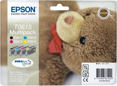 Preisvergleich Produktbild Epson Tinte / T0615 / Blister / cmyk / Multipack / DURABrite Ultra / RF-Tag (akkustisches Alarmsignal) (C13T06154020)