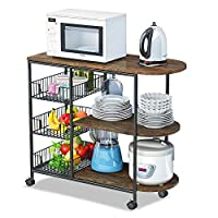 LENTIA Kitchen Cart Storage Trolley with Industrial Wooden Board, 3 Wire Baskets and Lock Wheels, 80 * 38 * 84cm