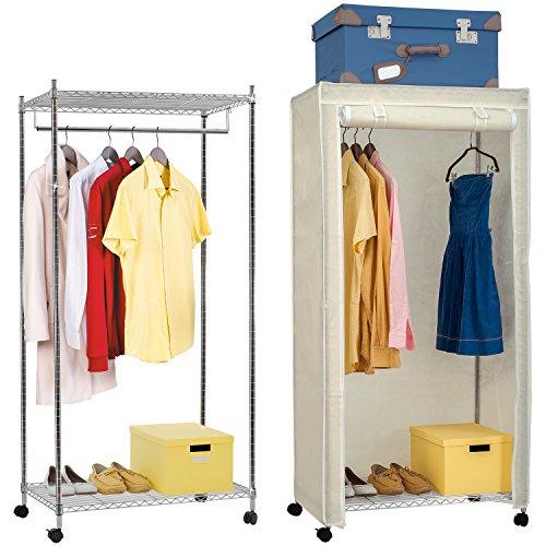 Artmoon Buffalo Extra Stabiler Metall Kleiderständer Garderobenständer Kleiderschrank auf Rollen mit Stoff und 2 Ablageböden