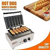ALDKitchen Hot Dog Waffle Maker Commercial 6 PCS Lolly French Hotdog 220v | Cane da forno croccante elettrico in acciaio inox | Focaccine per salsicce con muffin (Hot Dog)
