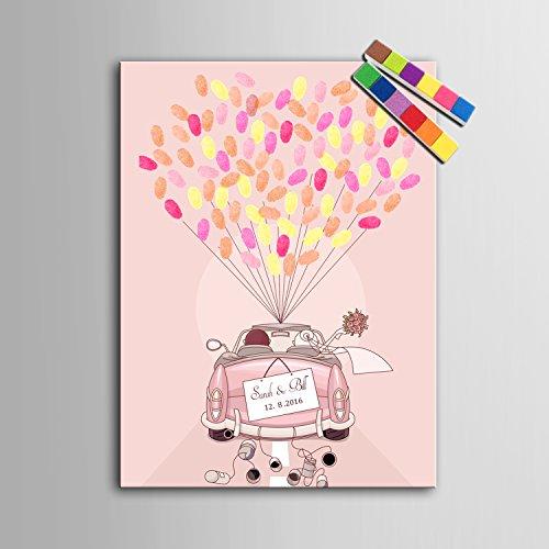 Lienzo con diseño de árbol para imprimir huellas, como regalo o decoración de boda, con 12colores de tinta, personalizable 35x50cm