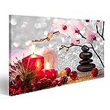 islandburner Bild Bilder auf Leinwand Massage Feng Shui Spa mit Kerzen, Orchidee, Steine Wandbild Leinwandbild Poster