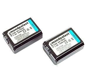 2 x Remplacement Batterie NP-FW50 1500mah avec infochip pour Sony A6000 A5000 NEX-5 NEX-5R NEX-5N NEX-3 NEX-3N NEX-7 NEX-C3 DLSR A33 DLSR A55 Alpha A7 A7r RX10 A7s II A7r II A7 II RX10 II ILCE Alpha 6300 6500 6000