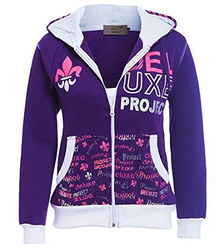 SS7 Ragazze Tuta Jersey 2 Pezzi Loungewear, età da 7 a 13 Anni Viola, Nero (età 11/12, Viola)