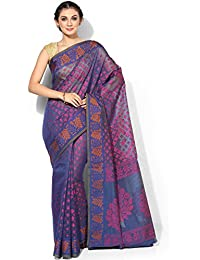 Banarasi Silk Works Supernet Cotton Saree With Blouse Piece(PTE114_Blue_Free Size)