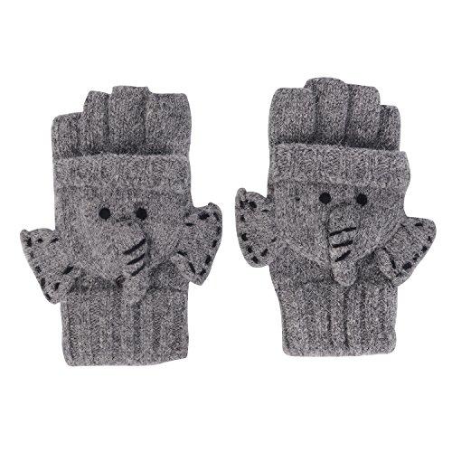 LHZY Frauen Winter Warm Wolle Cony Haar Blend Gestrickte Cabrio Elefanten Handschuhe mit Handschuh Abdeckung