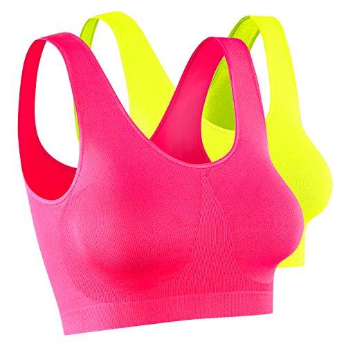 2 x Damen Sport Top, Größe M, neon pink + neon gelb