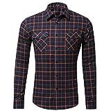 Xmiral Herren Bluse Art und Weise beiläufige Langarmhemd Taschen Lattice Bedruckte T-Shirt (MF-Orange)