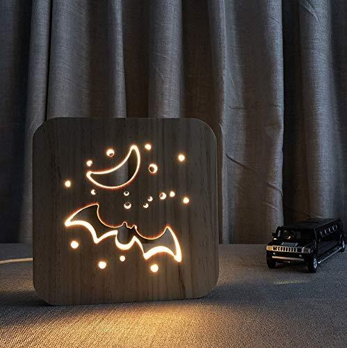 Lampe Fledermaus Schreibtischlampe USB Power LED 3D Holz Deko Licht Für Zuhause Kind Urlaub ()