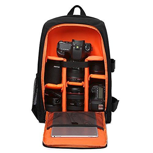 """Imagen de  para cámaras réflex y accesorios con acolchada a prueba de choques y ordenador portátil 15,6""""  viaje impermeable para nikon canon sony con cubierta de lluvia naranja  alternativa"""