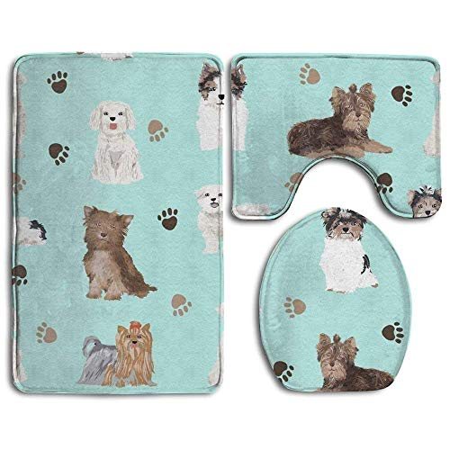 Yorkie Maltese Biewer Terriers Dogs 3 Piece Bathroom Rug Mat Set Soft Memory Foam Bath Carpet Contour Rug with Lid Cover