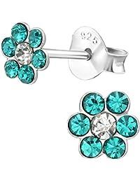 60bce4c9fa0a Jayare - Pendientes infantiles de flor de plata de ley 925