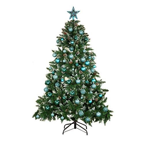 Yorbay Weihnachtskugeln Christbaumkugeln Set inklusive Perlenkette und Baumspitze (Eisblau)