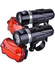 Happyjoy Conjunto de la Luz de la Bicicleta 2 * 5 LED Linterna del Faro Delantero Impermeable de la Bici + 2 * 5LED Trasera de la Bici Rojo Fuego