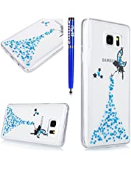 EUWLY Coque Samsung Galaxy Note 8,Housse Samsung Galaxy Note 8,Samsung Galaxy Note 8 Gel Souple Étui en Silicone TPU,Bling Bling Brillant Scintillant Transparente Crystal Silicone Ultra Mince Case Cover Telephone Portable Soft Housse Cas Prime Flex Silicone Skin Euit de Protection Shell Couverture pour Samsung Galaxy Note 8 + Stylet Bleu,Bleu