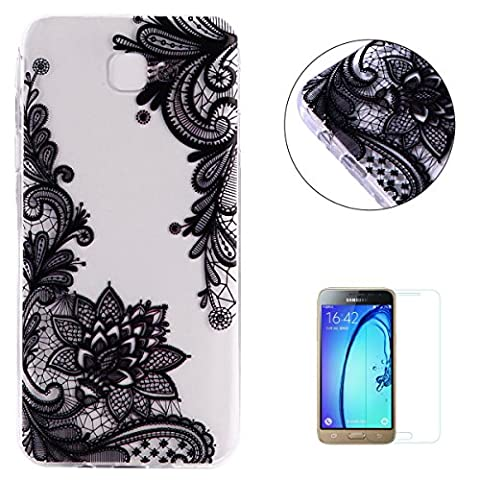 Samsung Galaxy J3/J310 Case Clear,[with Free Screen Protector] KaseHom Premium Ultra Slim Silicone TPU Gel Cover Beautyful Multicolor Unique Oil Painting Design Scratch Resistant Bumper Shock Absorption Protective Rubber Transparent Skin Shell for Samsung Galaxy J3/J310 - Black Lace Flowers