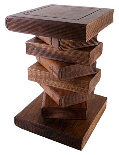 Something different tavolino di legno a forma di pila di libri, color miele, 33x 33x 51cm
