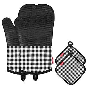 Esonmus Ofenhandschuh Topfhandschuhe Hitzebeständige Silikon und Baumwolle 1 Paar und 2 Topflappen Schwarz