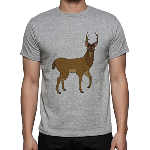 Deer Animal Wood Creature Horns Cartoon Herren T-Shirt Grau