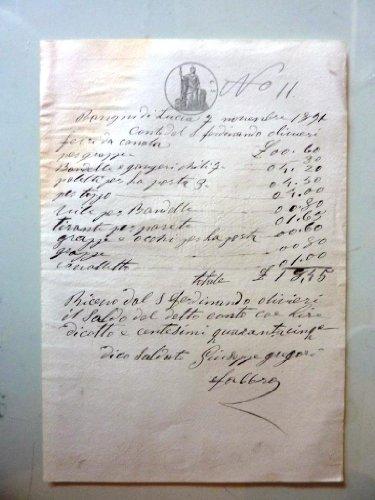 Ricevuta per Lire 18,45 Conto del Signor Fernando Olivieri, Giuseppe Gregori Fabbro - Bagni di Lucca 7 Novembre 1891