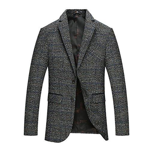 Herren Anzugjacke Slim Fit für Hochzeit und Freizeit von YOUTHUP Grau XL (Jacke Mantel Tuch Tweed)