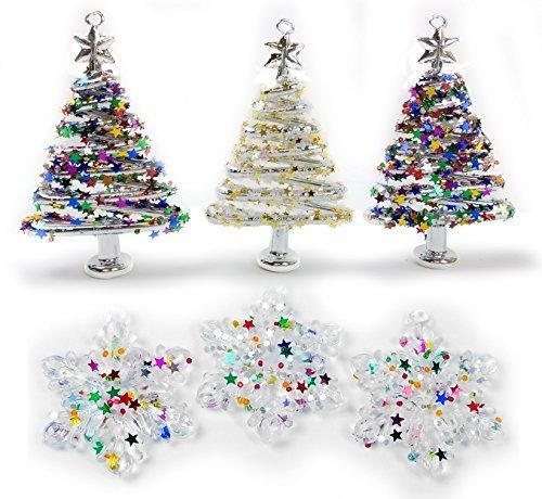 Banberry Designs Glas Weihnachtsbaum Ornament Set-Set von 6Verschiedene Glitzernden Bäumen und Schneeflocken-Blättern Ornaments Box-Skurril Xmas Ornaments
