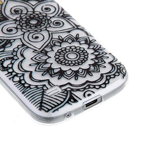 Ekakashop Coque pour Samsung Galaxy S4 Mini I9190, Ultra Slim-Fit Flexible Souple Housse Etui Back Case Cas en Silicone pour Galaxy S4 Mini, Soft Cristal Clair TPU Gel imprimée Couverture Bumper de Pr Noir Mandala Fleur