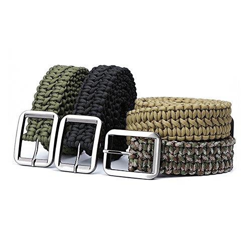 evaky 550Paracord Survival Gürtel Herren–100FT Seil Paracord Gürtel mit Metall Schnalle für draußen, Schwarz