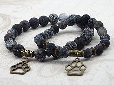 Pack Duo Bracelet femme et Bracelet homme en agate givrée avec pendentif en forme de patte de loup